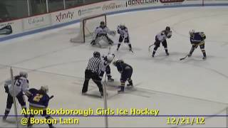 Acton Boxborough Varsity Girls Ice Hockey @ Boston Latin 12/22/12