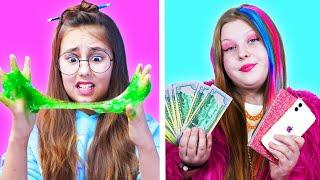 Chica rica popular vs pobre nerd || Momentos divertidos e incómodos con amigos