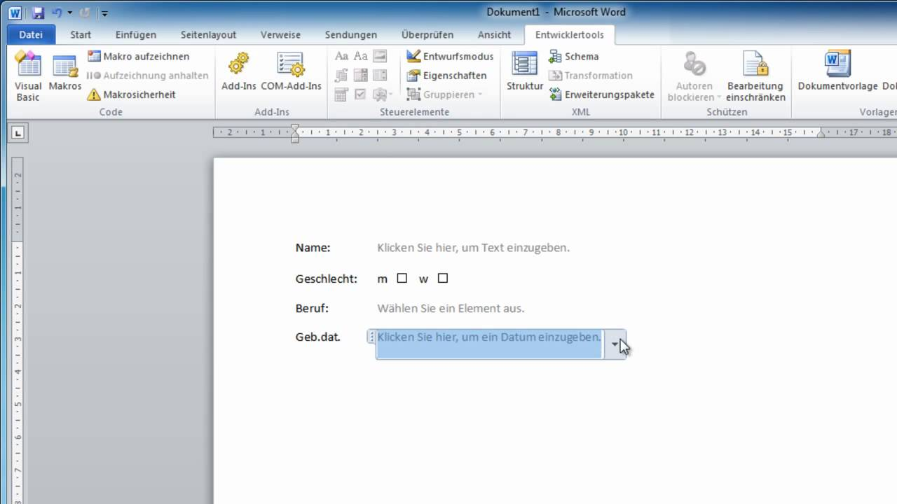 Word 2010 - Formulare erstellen - YouTube