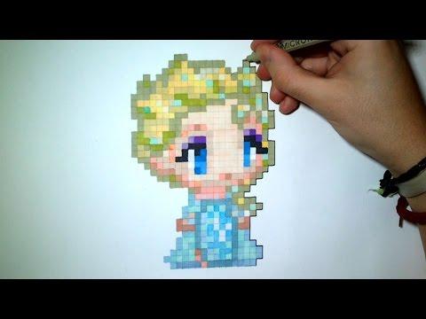 How To Draw Elsa Frozen Easy Pixel Art