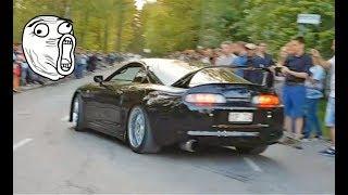 Nissan GTR Porsche Ferrari Supra BMW Audi RS - Launch and Acceleration - Car Meeting Sweden #3