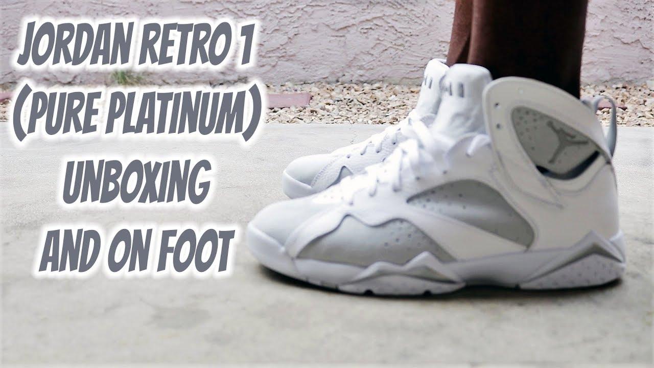 bd33f17a19a ... norway jordan retro 7 pure platinum unboxing on foot 95f7c b3751