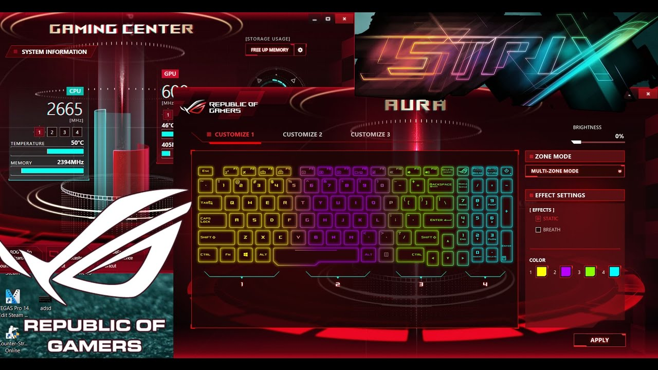 ASUS Gaming Centre(ASUS AURA CORE) Change Keyboard Color RGB Strix