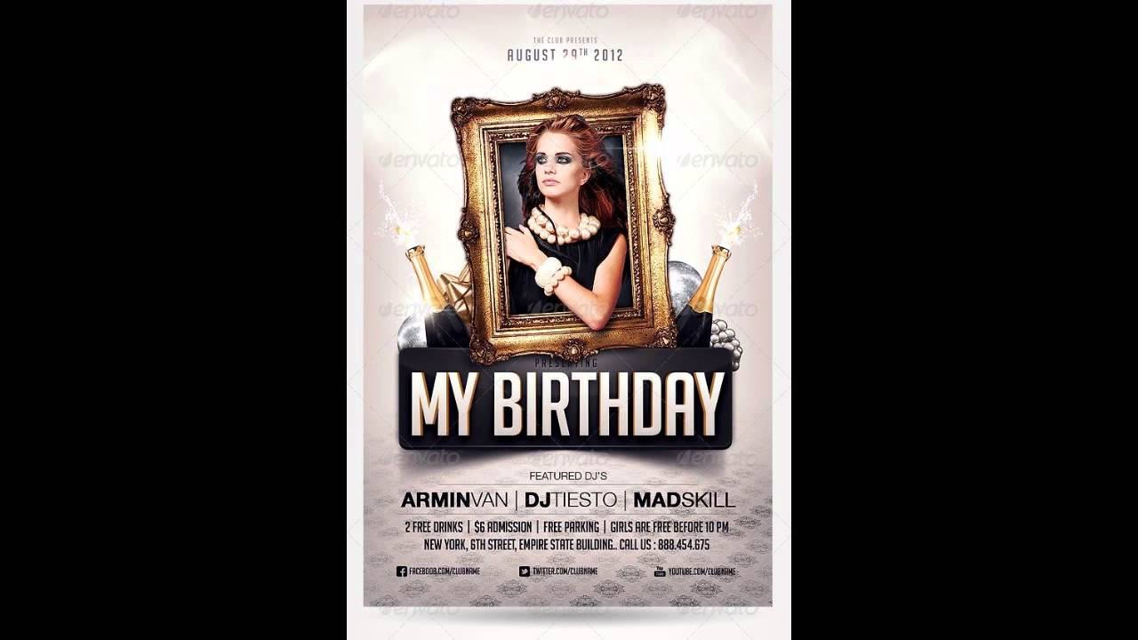 Birthday Party Invitation Flyer Free PhotoShop Template YouTube – Party Invitation Flyer