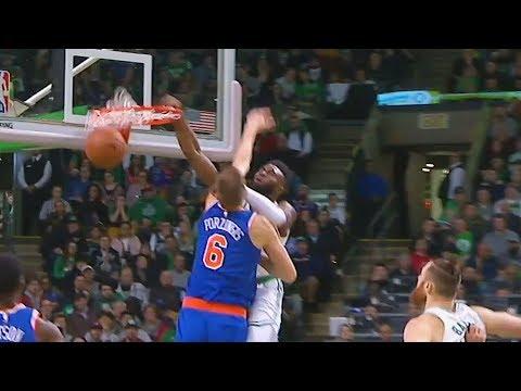 Jaylen Brown Dunks on Kristaps Porzingis! Celtics vs Knicks January 31, 2018