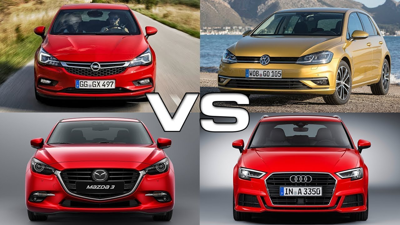 opel astra vs volkswagen golf vs mazda 3 vs audi a3 youtube. Black Bedroom Furniture Sets. Home Design Ideas