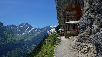 visiting Restaurant Aescher, Wildkirchli on Ebenalp, Switzerland