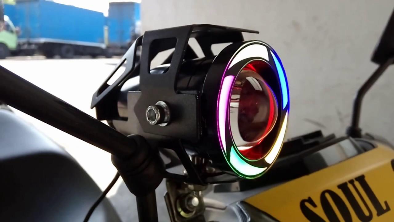 CARA PASANG LAMPU SOROT TEMBAK LED CREE U7 TRANSFORMERS RAINBOW PELANGI DI MOTOR Motovlog 10