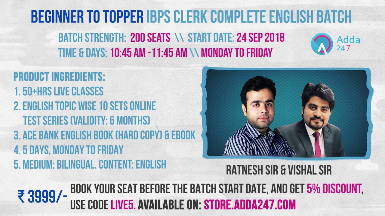 Beginner to Topper IBPS Clerk Complete English (By Vishal Sir and Ratnesh  Sir) | Call 9958500766