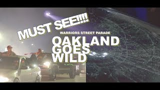 Streets of Oakland Erupts after Warriors Win ( 2017 NBA FINALS ) Craziest rally ever!!!!