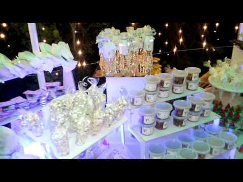 Mesa de dulces ilumianada boda