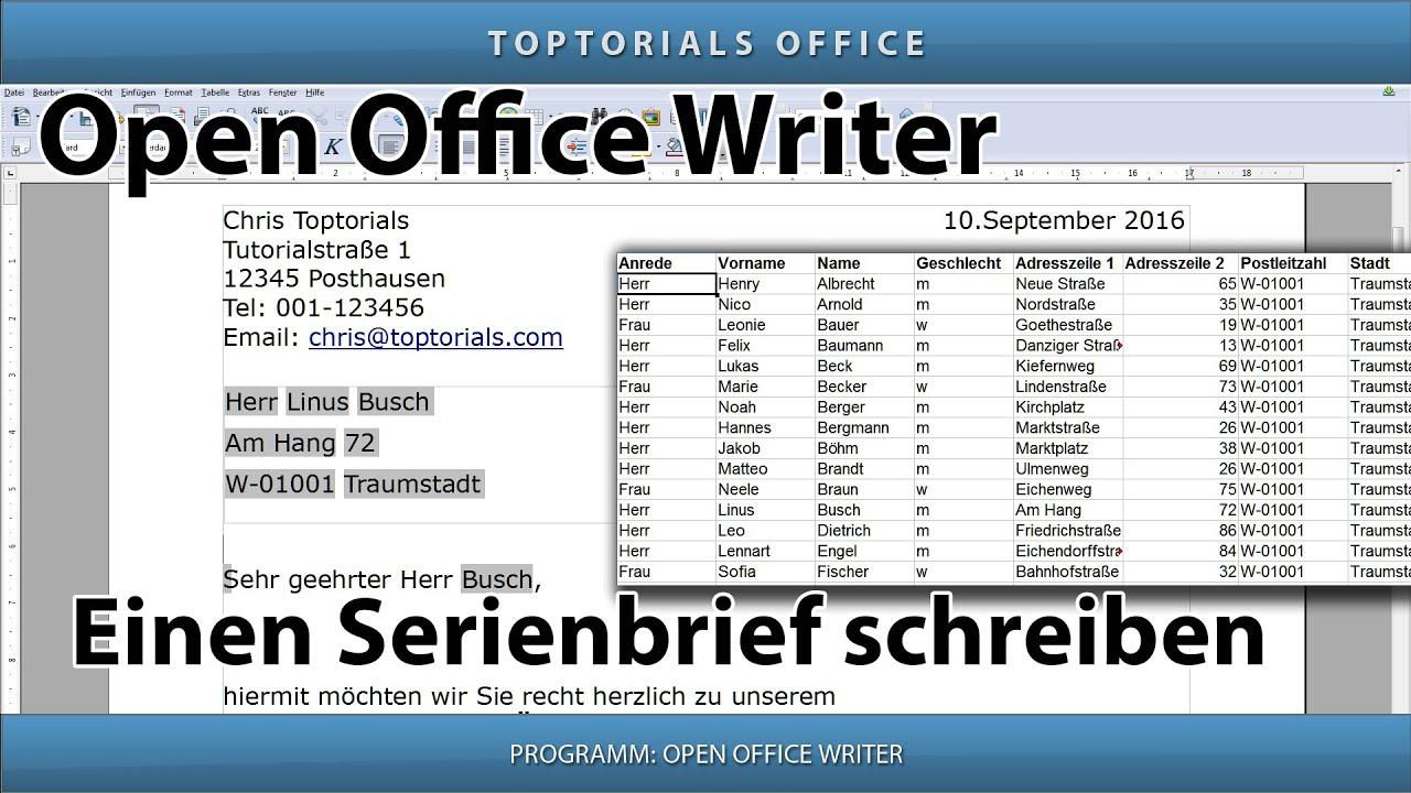 Serienbrief Ganz Einfach Mit Openoffice Writer Youtube