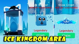*New* ICE KINGDOM Area + FROZEN Egg Update! Got Legendary Hats & Pets | Unboxing Simulator! [Roblox]