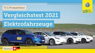 Vier Elektrofahrzeuge im Vergleich: Tesla, VW, Hyundai, Peugeot