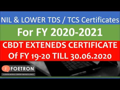 CBDT ने दी छूट/Lower/Nil Deduction/collection Of TDS Or TCS/ Certificate Of FY 20-21/TDS Certificate