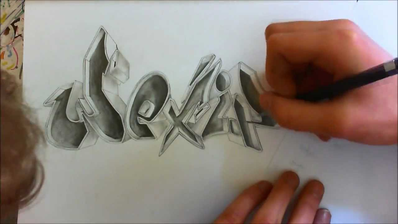 100% pencil 3D graffiti shadow effect sur papier- crayon HB ...