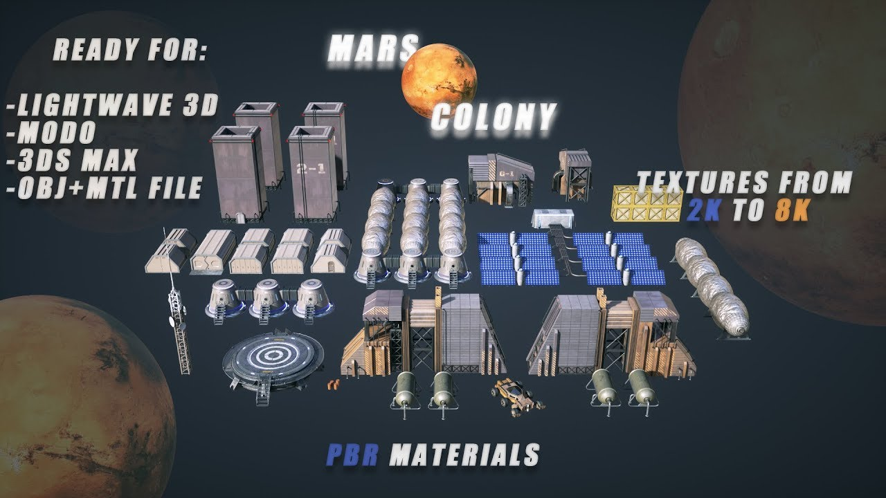 Mars Colony (KitBash) 3D Models + Free 3D Sample 4K Ready to Download