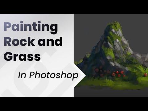 Digital Painting Tutorial _ Rocks and grass
