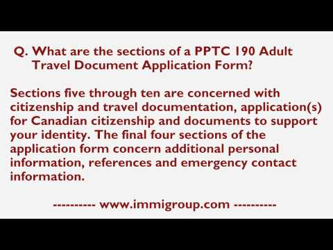 What are the sections of a PPTC 190 Adult Travel Document Application Form?