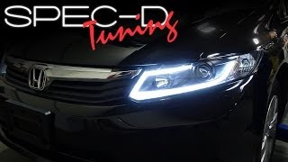 SPECDTUNING INSTALLATION VIDEO: 2012 HONDA CIVIC FIBER OPTIC LED BAR PROJECTOR HEADLIGHTS