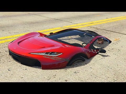 UNDER THE ROAD GLITCHING! (GTA 5 Funny...