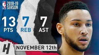 Ben Simmons Full Highlights 76ers vs Heat 2018.11.12 - 13 Pts, 7 Ast, 7 Rebounds!