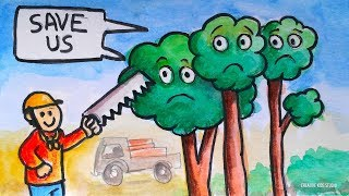 Save Trees Save Earth Poster Design Easy Cartoon Drawings for Kids salva árboles