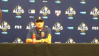 Red Sox's John Farrell discusses Dustin Pedroia getting thrown out at third base in Game 1