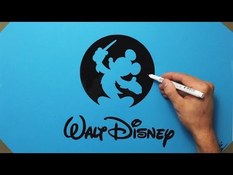 How To Draw Walt Disney Records Logo On Blue Paper