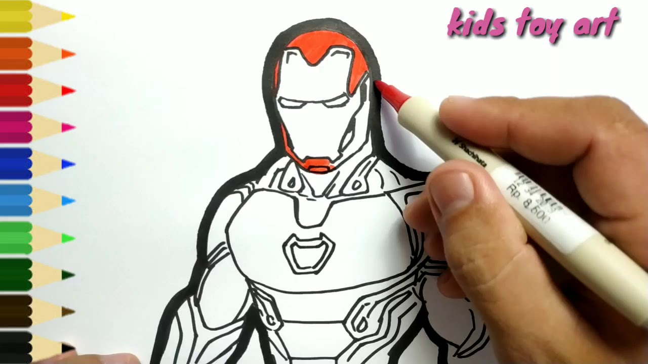 very easy , how to draw IRON MAN Avengers/ drawing and ...