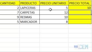 Excel 4:  Ejercicio 6 (Tabla de Papelería)