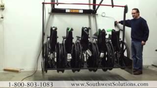 Push Button Wheelchair Storage Racks Saves Space   Ways to Store Wheel Chairs