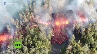 Imágenes aéreas: Ríos de lava tras la erupción del Kilauea