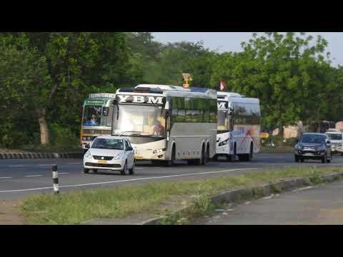 YBM Mercedes Benz and Ashok Leyland sleeper buses racing near Chengulpattu