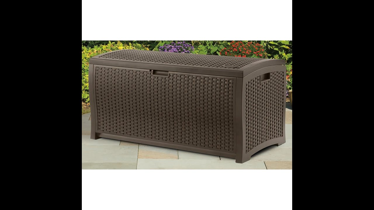 Suncast DBW7300 Mocha Wicker Resin Deck Box 73 Gallon Reviews YouTube