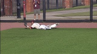 Texas State LF Granger Studdard with a Diving Catch During the Sun Belt Conference Seimifinal Game