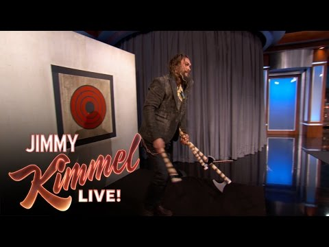 Download Youtube: Jason Momoa Throws Axes with Jimmy Kimmel & Guillermo