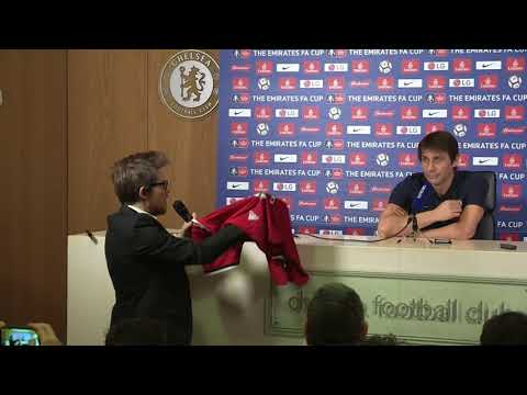Antonio Conte presented with signed Jose Mourinho Manchester United shirt