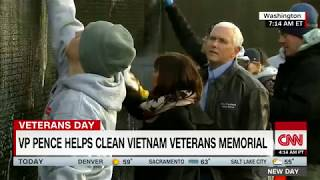 VP Pence helps clean Vietnam War memorial