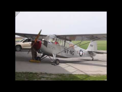 Geneseo National Warplane Museum's Aeronca L-16A - Starting up the jalopy - AWESOME single engine!
