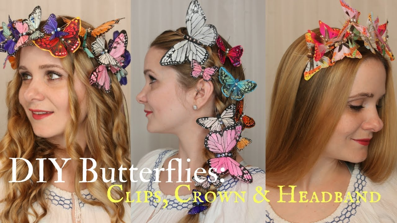 Diy Butterflies How To Make A Crown Clips Headband Youtube