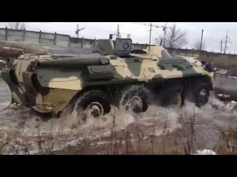 BTR-80 Soviet APC is Crossing Swamp