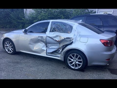 2011 Lexus IS250 AWD driver side hit with air bag deployment time lapse repair