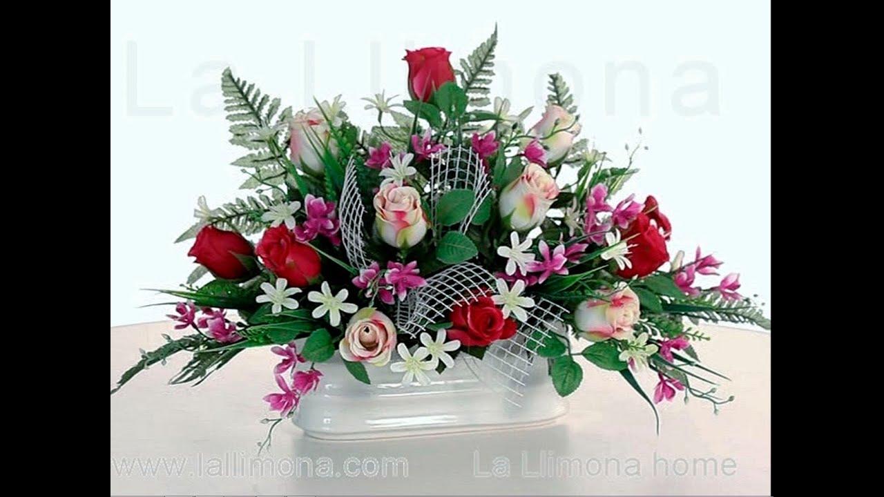 Arreglos florales Jardinera cermica rosas artificiales malva y