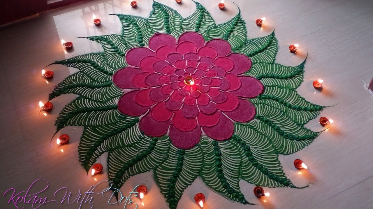 Beautiful Red Flower Rangoli Designs Colourful Designs For