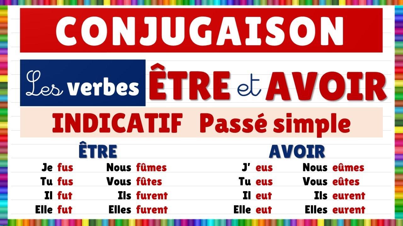 Conjugaison Les Verbes Etre Et Avoir A L Indicatif Passe Simple Youtube