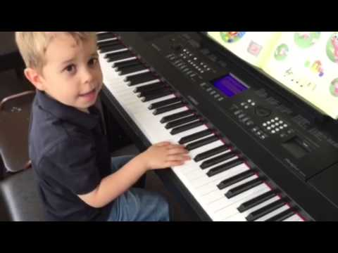 Our 4 year-old ready for piano lessons at Yamaha Music School in Vancouver