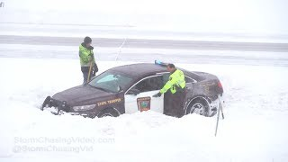 Wright County, MN Winter Storm Crashes and State Trooper in Ditch - 2/7/2019