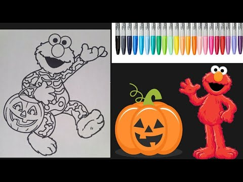 Elmo Halloween Coloring Page Sesame Street Coloring Book Relaxing Coloring For Kids Music Markers