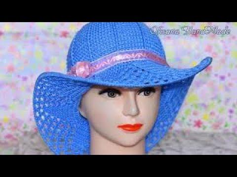 Как связать шляпу с полями крючком видео